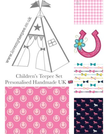 girls pink pony club horseshoe teepee tent fabric collection