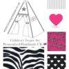 girls pink zebra print diva teepee tent fabric set
