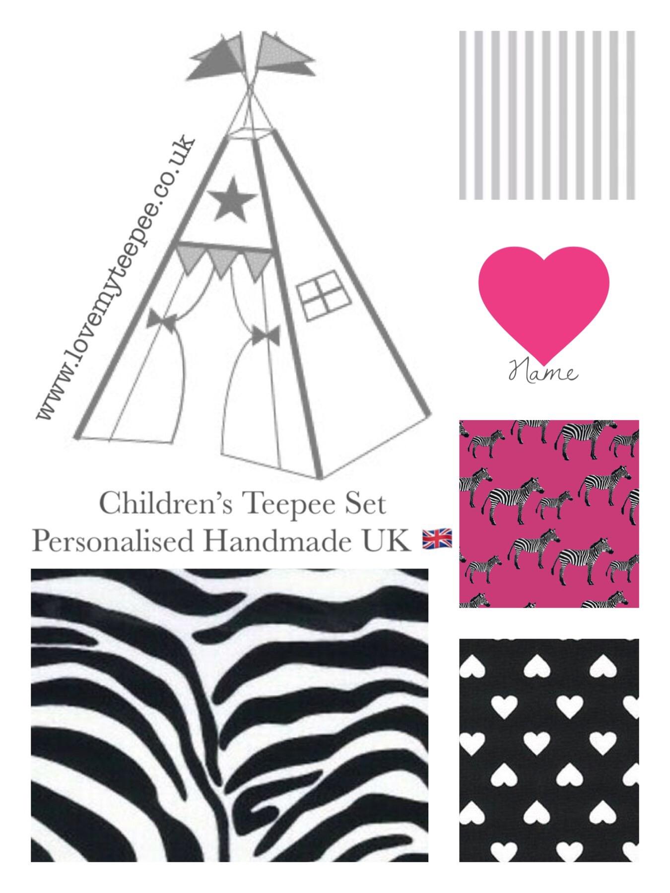 Pink Zebra Print Diva Teepee Tent Mat Cushions Kids