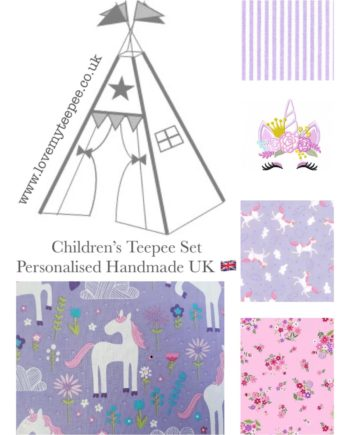 unicorn princess lilac pink girls teepee tent fabric collection