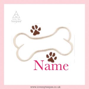 pink cushion cover + dog bone & any name