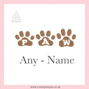 pink cushion cover + any name paw font