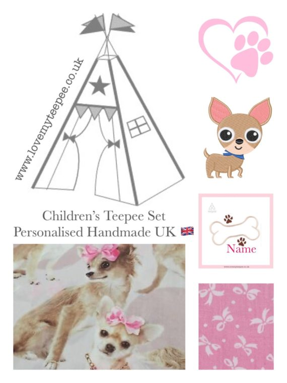 girls chihuahua puppy pink bows teepee tent fabric collection