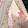 girls cream and pink rose kids teepee tent with pink ribbon tiebacks