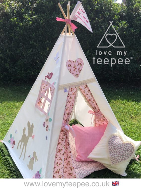 girls disney bambi and thumper teepee tent with flowers and birds on the side pane, side window with rose pink curtains kids personalised and handmade