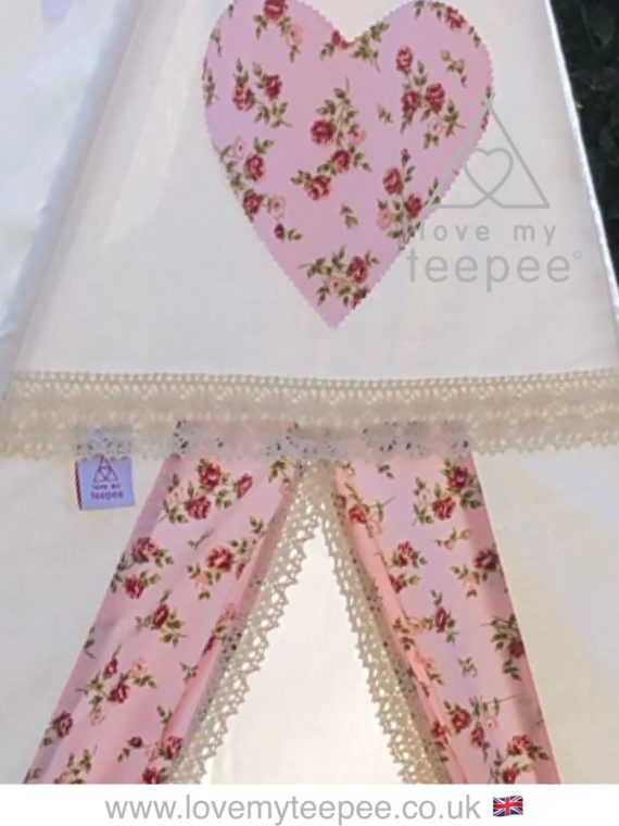 girls ivory teepee pink rose heart and teepee door fabric edged in cream lace