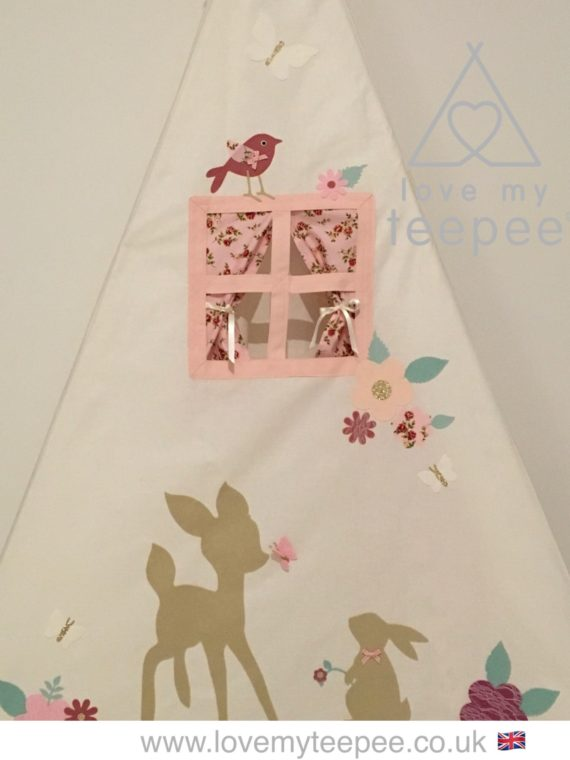 girls disney bambi and thumper teepee tent with flowers and birds on the side pane, side window with rose pink curtains