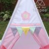 flower meadow appliqued pastel gingham teepee lace flags