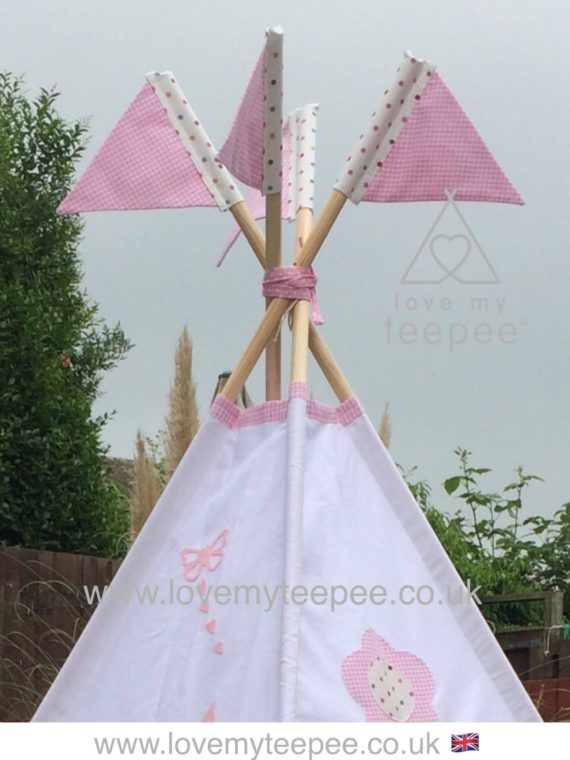 pastel pink gingham teepee pole flags