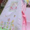 flower meadow decorated side panel rabbit, butterflies, hedgehog pastel teepee window
