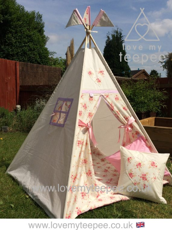 girls shabby chic cream and pink rose teepee plus cushions