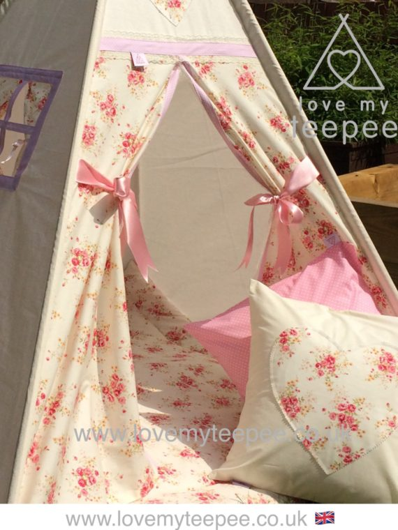 girls shabby chic cream and pink rose teepee and mat