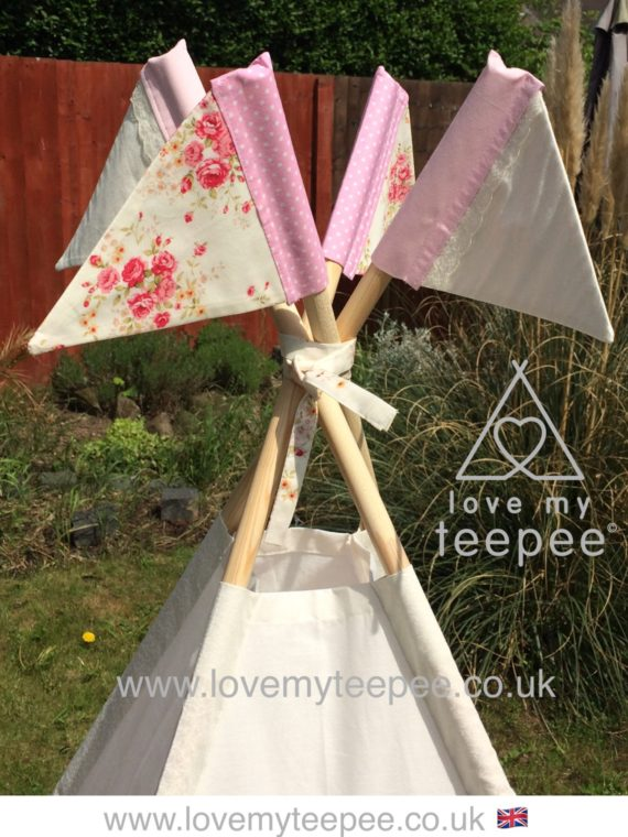 girls shabby chic cream and pink rose teepee pole flags