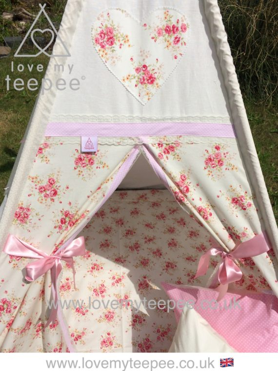 girls shabby chic cream and pink rose teepee motif heart