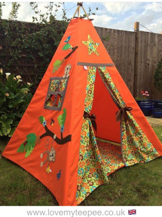 boys monkey jungle leaves kids teepee tent and wadded floor mat