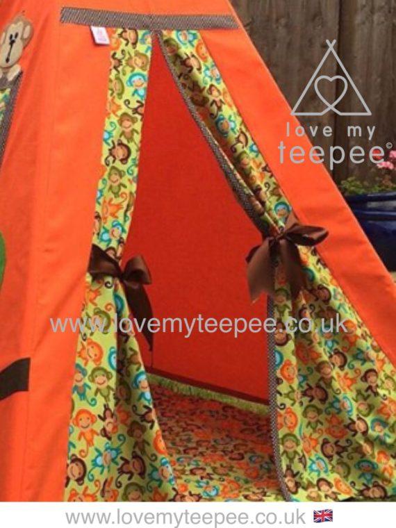monkey teepee door fabric boys
