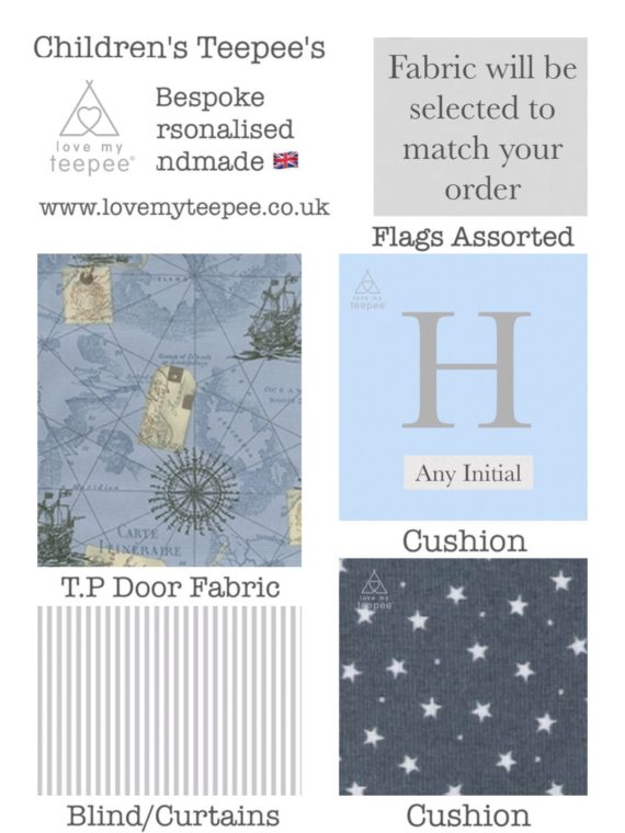vintage nautical sea map, grey stars and stripe fabric set