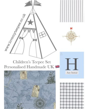 boys vintage nautical sea map compass ship grey gingham fabric teepee set