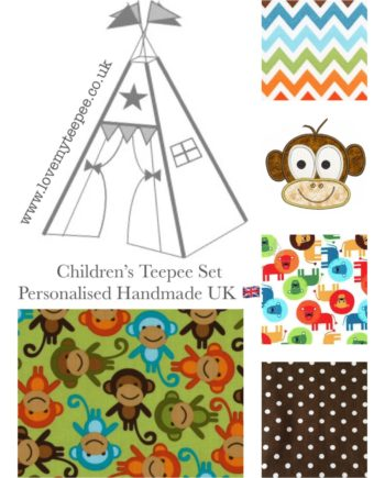 boys monkey lion teepee tent fabric for kids personalised