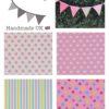stars, stripes, hearts fabric bunting for kids pink lemon blue mint