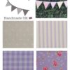 gingham rose stripes fabric bunting for kids lilac cream pink
