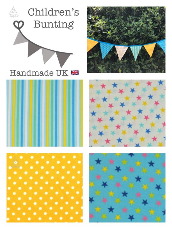 stars and stripes fabric bunting for kids yellow aqua blue mint