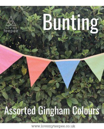 pastel gingham fabric bunting for kids pink orange blue green