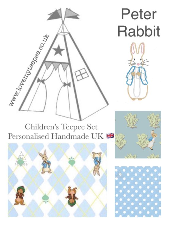 peter rabbit teepee tent mat cushions kids personalised cabbages and radishes