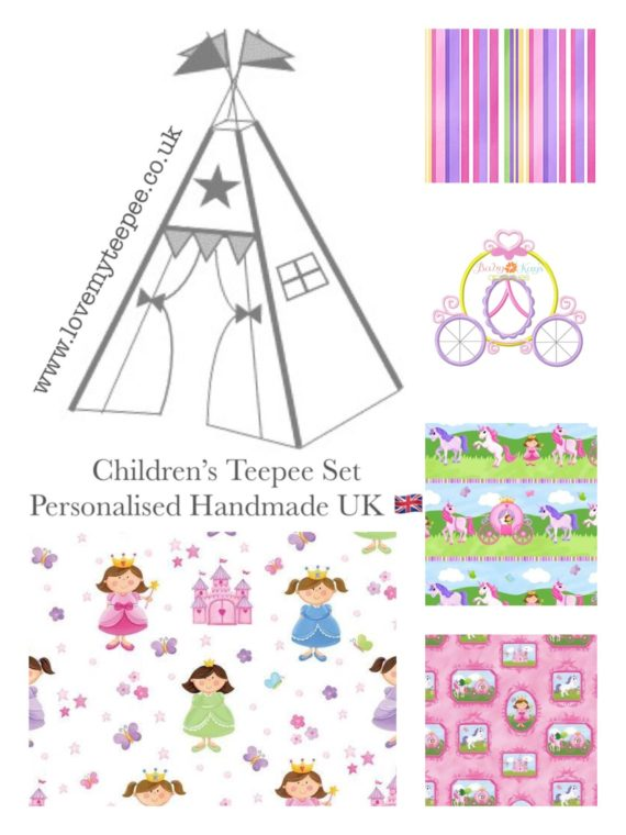 pink little princess kids personalised teepee tent mat cushions