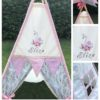 girls embroidered swan teepee tent personalised handmade