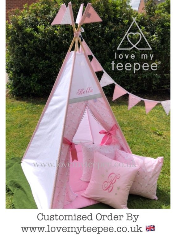 girls pink unicorn embroidered names teepee tent personalised handmade