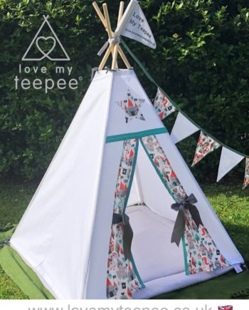 kids personalised dream catcher teepee tent with boho aztec feathers and butterfly cushions, grey floor mat, matching bunting and pole flags.s little knights white teepee, grey floor mat and bunting
