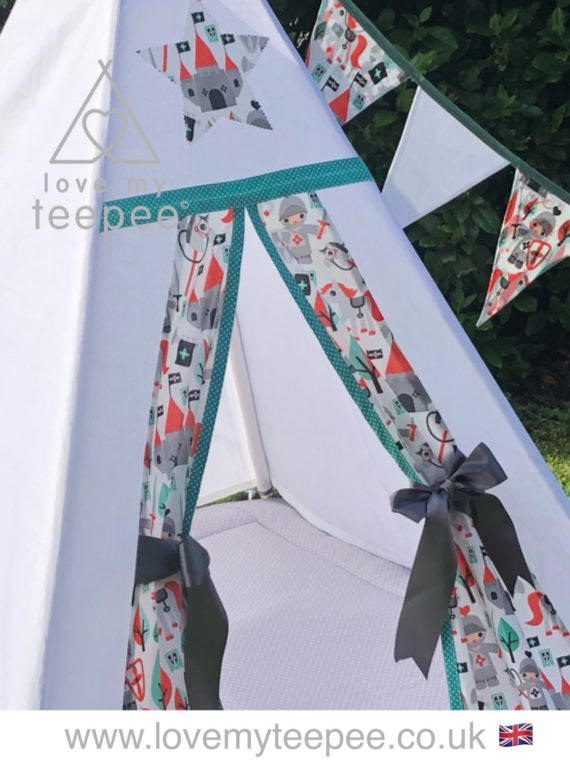 kids personalised knight teepee tent with boho aztec feathers and butterfly cushions, grey floor little knights white teepee, grey floor mat and bunting